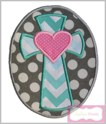 Cross 1 and Heart Oval Patch Applique Design-
