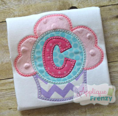 Fluffy Cupcake monogram Applique Design-