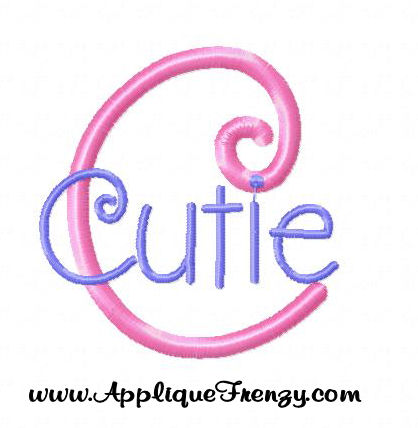 Cutie Pie Embroidery Font-curly, font, curlz, fun, curls, cute curly, cute curls, cute curlz