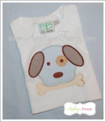 Dog with Bone Applique Design