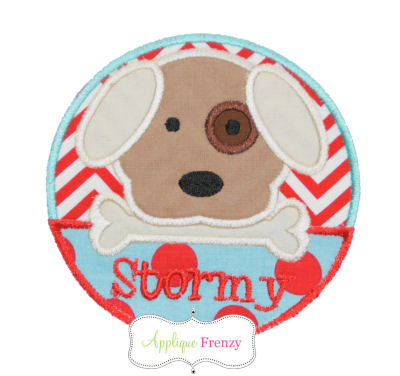 Dog with Bone Circle Patch Applique Design-