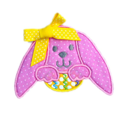 Droopy Ear Bunny with Egg Applique Design-