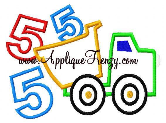 Dumptruck 5th Applique Design-