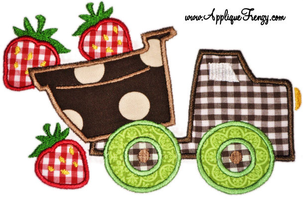 Strawberry Dumptruck Applique Design-