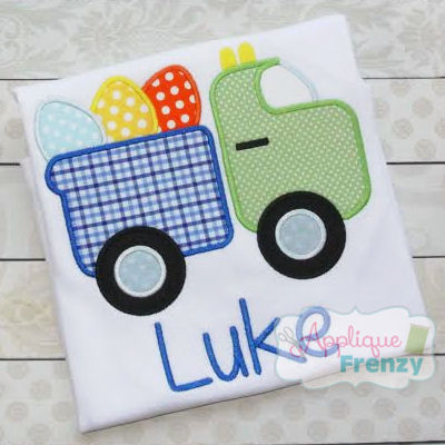 Easter Dumptruck 115 Applique Design-easter, boys, eggs, spring