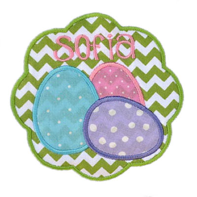 Egg Trio Scallop Circle AND Scallop Square  Applique Design SET