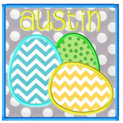 Egg Trio Square AND Rd. Square Applique Design SET-