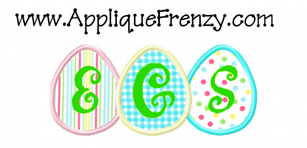 Egg Trio Applique Design-egg, easter, bunny
