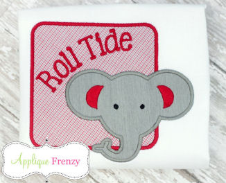 Elephant Square Patch Applique Design