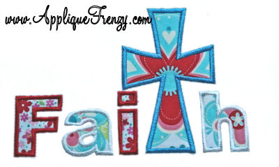 Faith Cross Applique Design-
