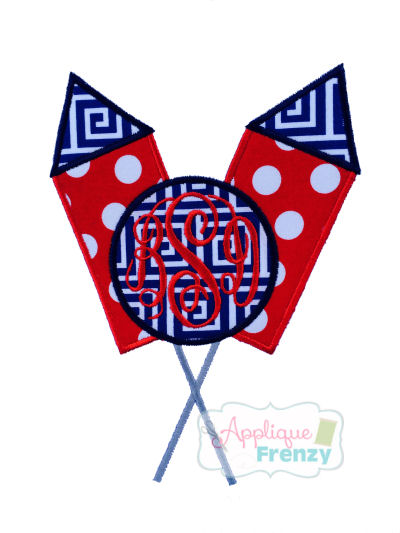 Firerocket Crossed with Monogram Circle Applique Design-