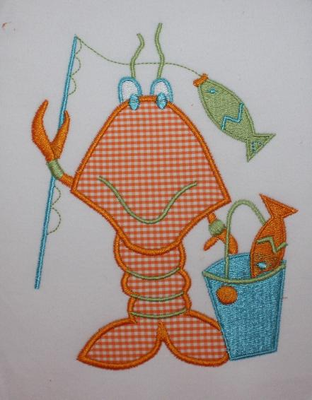 Fishing Lobster Applique Design-fishing, lobster, sea life
