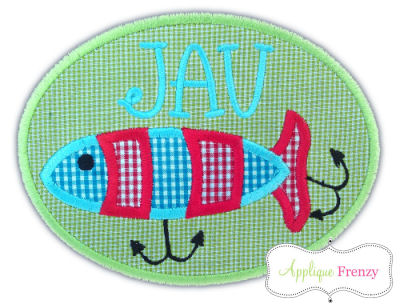 Fishing Lure Oval Patch Applique Design