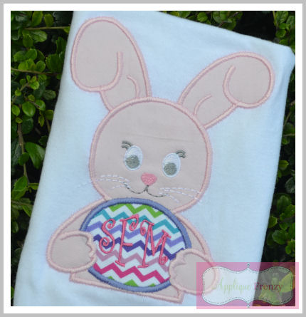 Floppy Ear Bunny with Egg Applique Design