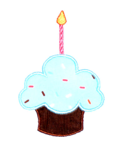 Fluffy Birthday Cupcake Applique Design