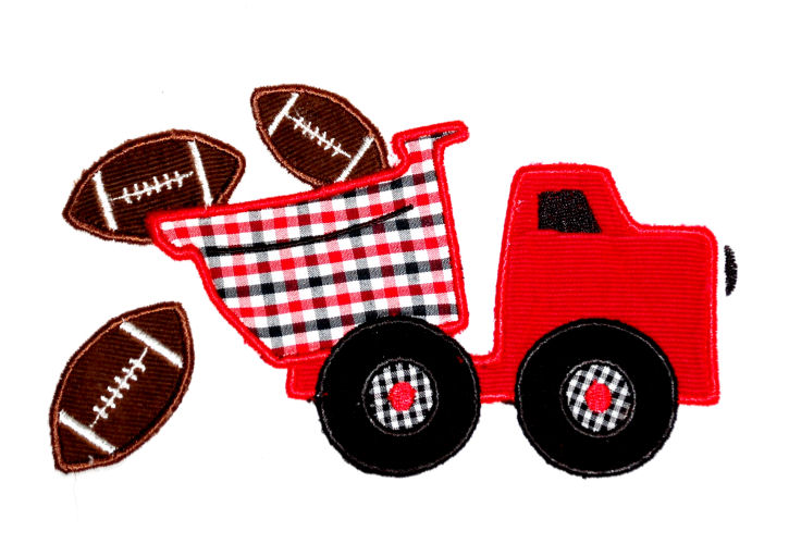 Football Dumptruck Applique Design-
