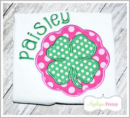 Four Leaf Clover Scallop Circle and Square SET Applique Design-