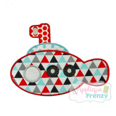 Summer Fun Submarine 1 Applique Design-summer, submarine, sailboat, beach, sun