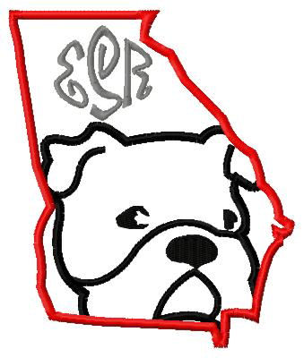 Georgia State Outline-BulldogApplique Design-