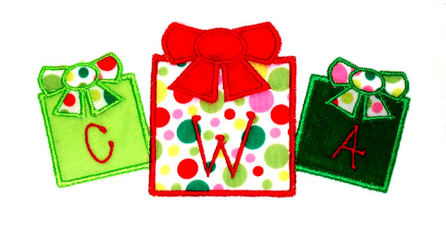Christmas Gift Trio Applique Design-christmas, gift, present, santa, monogram, tio