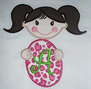 Girl with Easter Egg Applique Design-easter, girl, egg, bunny