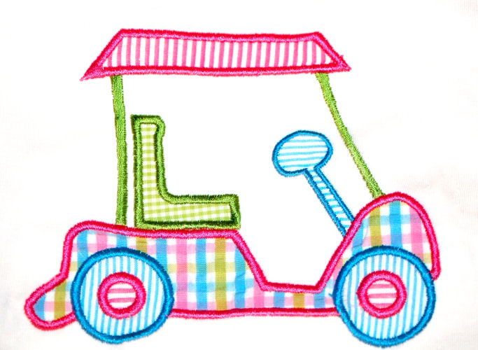 Golf Cart 2 Applique Design-