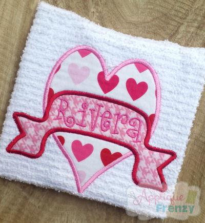 Heart with Banner Applique Design-