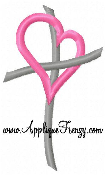 Heart With Cross Embroidery Design