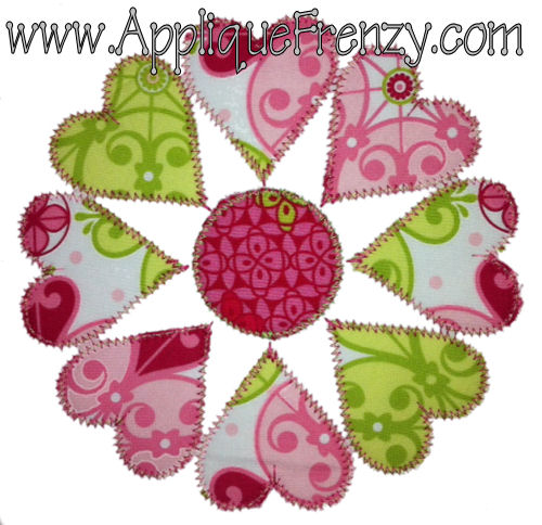 Heart Flower Applique Design-