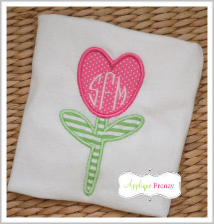 Flower Heart Applique Design-
