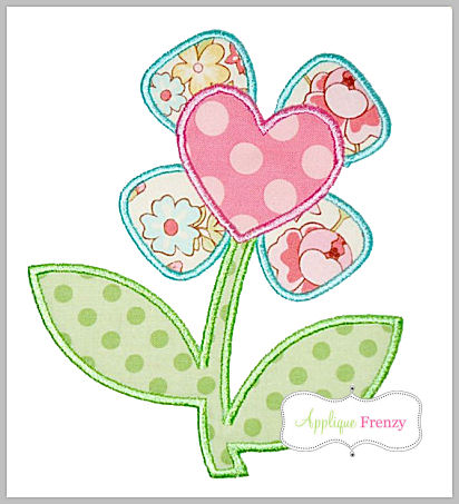 Stemmed Heart Flower Applique Design-