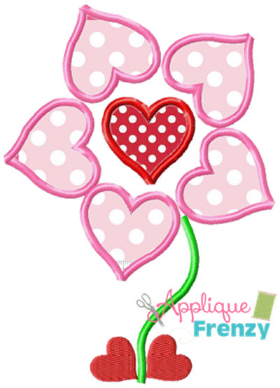 Heart Flower Two Applique Design-valentine, hearts, red, love, feb 14, love day, lovebirds, heart flower, heart, flower, heart stem