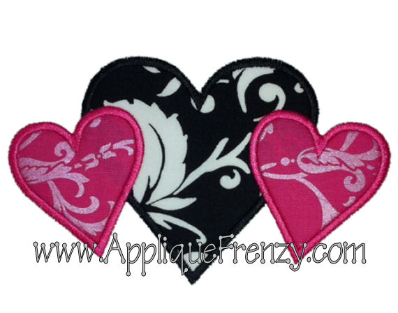 Heart Trio Applique Design-