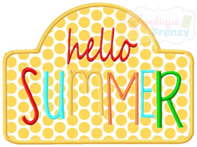 Hello Summer Applique Design-