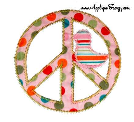Hippie Chick Applique Design-