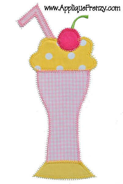 Ice Cream Float Applique Design-ice cream, summer, float, pool, spring, drinks, kelly's kids
