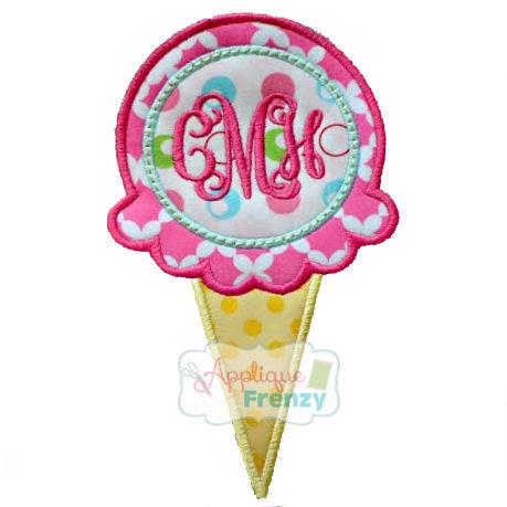 Ice Cream with Monogram Circle Applique Design-