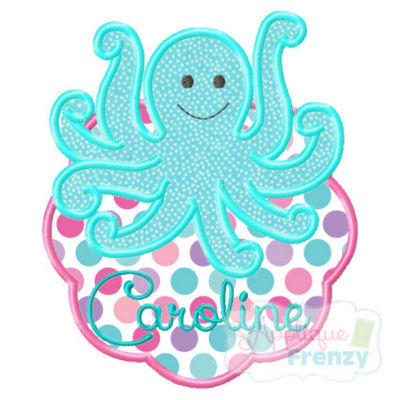 Octopus3 Scallop Patch Applique Design-octopus, beach, summer, patch,