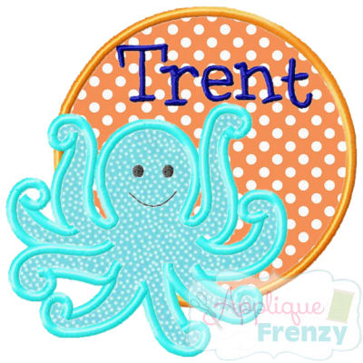 Octopus3 Circle Patch Applique Design-octopus, summer, sun, beach, cruis