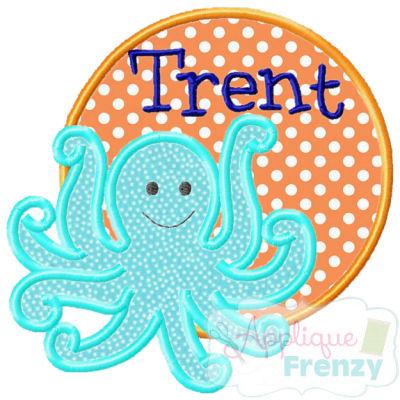 Octopus3 Circle Patch Applique Design-octopus, summer, sun, beach, cruis