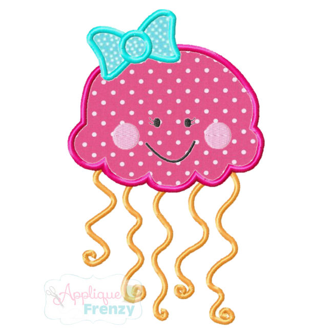 JellyFish 2 Applique Design-sealife, beach, summer, jellyfish, starfish, manowar, fish