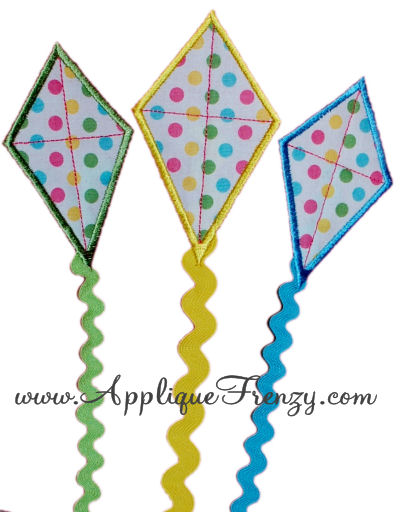Ribbon Tail Kite Trio Applique Design