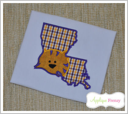 Louisianna State Outline-Tiger Applique Design