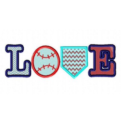 Love Baseball SET Applique Design-