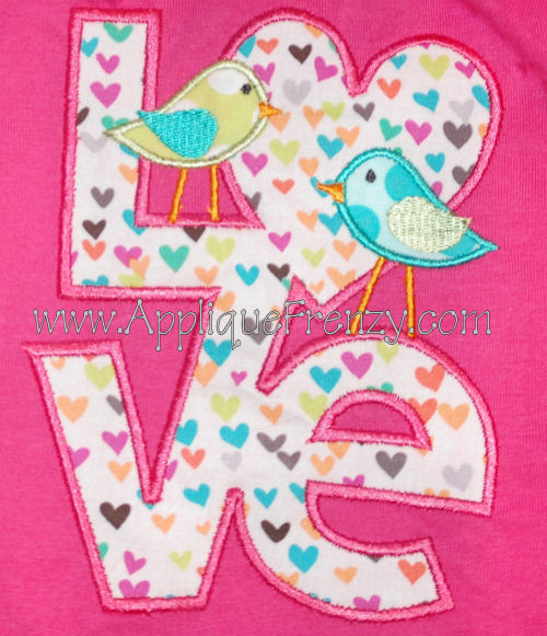 LOVE Birds Applique Design-
