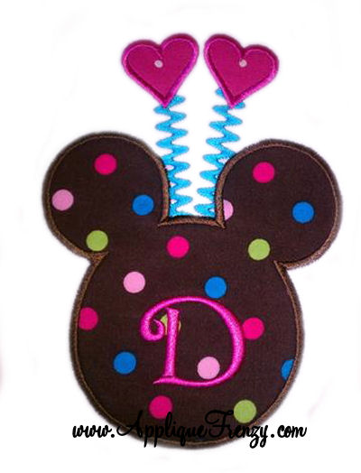 Valentine Mouse Applique Design
