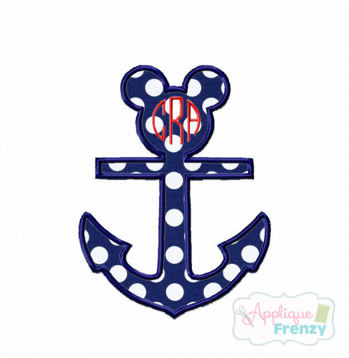 Mouse Anchor Applique Design-minnie, disney, anchor, cruise, disney cruise, mickey, mouse, disney summer