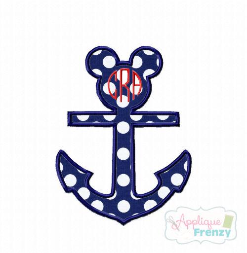 Mouse Anchor Applique Design-minnie, disney, anchor, cruise, disney cruise, mickey, mouse, disney summer