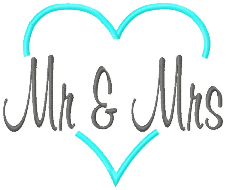 Mr & Mrs Heart Embroidery Design-marraige, love, marry, husband and wife, mr and mrs, wedding, bridal shower