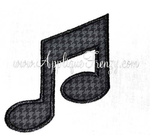 Music Note Applique Design-
